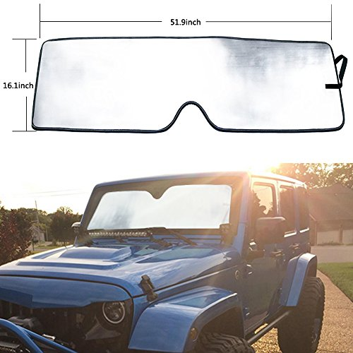 Clear Outer Shade - Bentolin Windshield Sunshade Sun shade for 2007-2017 Jeep Wrangler JK