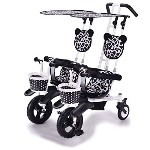 Sillas de Paseo Ligeras Cochecito Doble Triciclo Bicicleta de bebe Doble Bicicleta Cinco Modos Gratis con 3 Puntos Proteccion de Seguridad Carro de bebe Carritos y sillas de Paseo (Color : A)