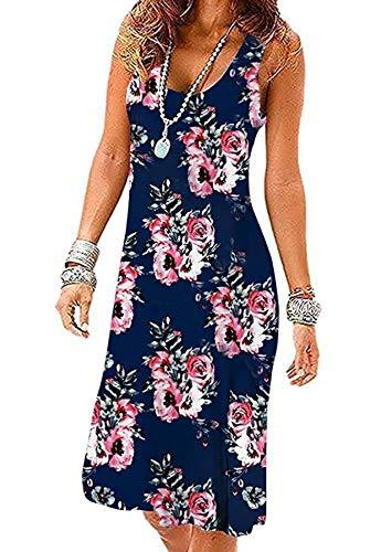 - MIDOSOO Womens Sleeveless Casual Empire Waist Knee Length Vest Sun Dresses Navy Blue 2XL