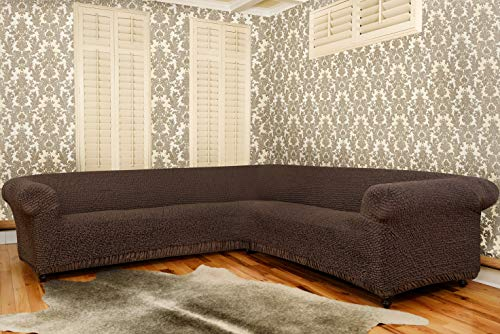 Sectional Sofa Cover - Corner Couch Cover - Corner Slipcover - Cotton Fabric Slipcovers - 1-piece Form Fit Stretch Furniture Slipcover - Mille Righe Collection - Brown (Corner Sofa) by PAULATO BY GA.I.CO. (Image #2)