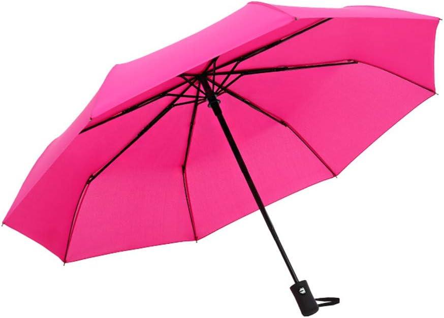 JUNDY Paraguas Compacto y Resistente al Viento, Paraguas Plegable, Conveniente para Viajes Paraguas automático Color sólido 8 Huesos tríptico color3 98cm: Amazon.es: Hogar