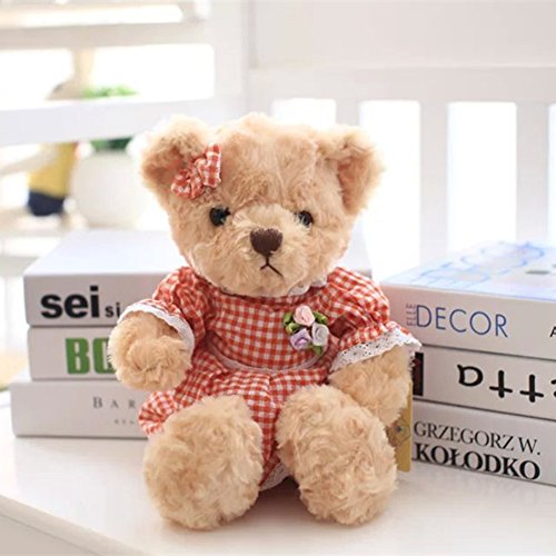 YXCSELL Brown Cute Soft Plush Stuffed Animals Small Teddy Bear in Orange Plaid Skirt Girl Female Women Mother's Day Teddy Bear Gift (Orange Soft Bear)