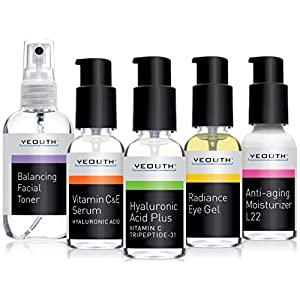 Best Complete Anti Aging Skin Care System, YEOUTH 5 Pack - Balancing Toner for Face - Vitamin C Serum - Hyaluronic Acid Serum - Eye Gel Cream - L22 Face Moisturizer 100%
