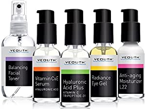 Best Complete Anti Aging Skin Care System, YEOUTH 5 Pack - Balancing Toner for Face - Vitamin C Serum - Hyaluronic Acid Serum - Eye Gel Cream - L22 Face Moisturizer 100%