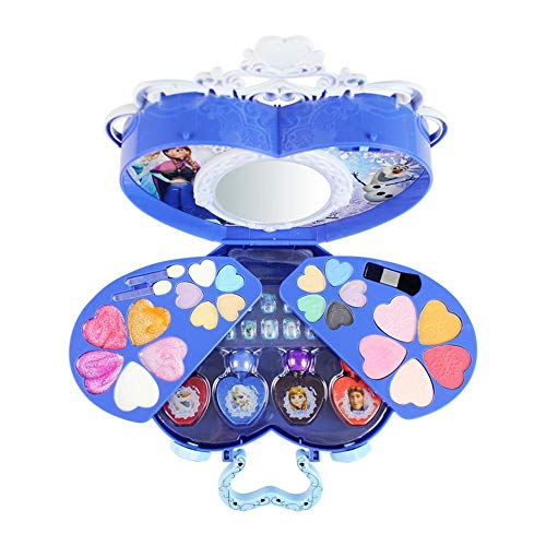 (Disney Princess Makeup Frozen Toys Makeup Kit Girls Makeup kit - Water Soluble Cosmetic Case, elsa Makeup for Little Girls, Queen Elsa and Princess Anna Safety and)