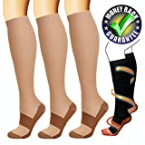 Copper Compression Socks For Men & Women(3 Pairs)-Best For Running,Athletic,Medical,Pregnancy and Travel -15-20mmHg(Nude-L)
