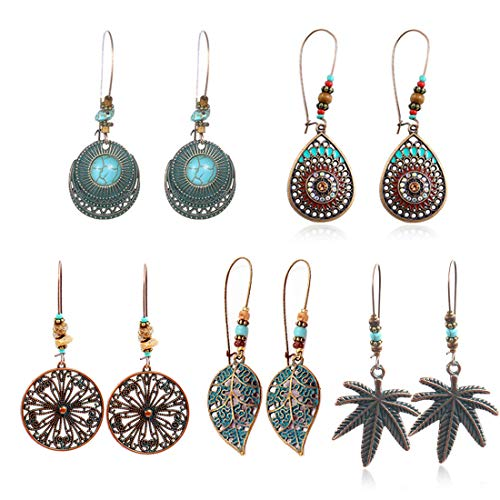 COMMINY 5 Pairs Metal Vintage Dangle Earrings, Bohemian Leaf Waterdrop Shape Hollow Pendant Earrings Set Boho Chic Jewelry for Women Girls ()