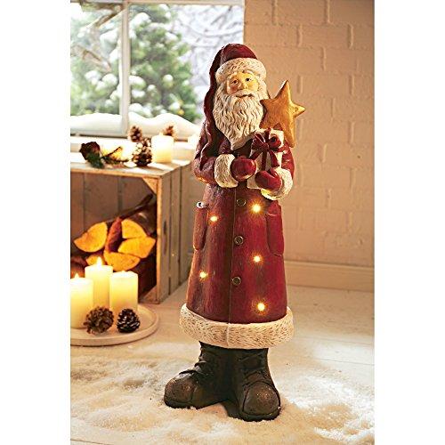 Weihnachtsdeko Dekofigur Red Santa Weihnachtsmann Beleuchtet 6 LEDs Höhe ca. 68 cm