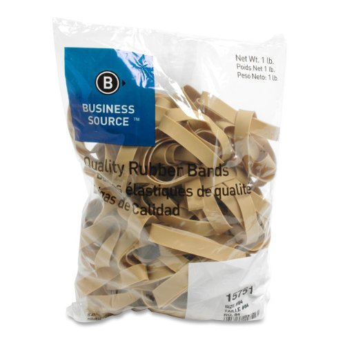 Business Source Products - Rubber Bands, Size 64, 1LB/BG, Natural Crepe - Sold as 1 BG - Rubber bands are designed for everyday use and industrial applications. Bands contain 55 percent rubber and some latex, offering 700 percent stretch. Rubber bands only vary 30 percent after being stretched. Rubber bands are sustainable and biodegradable. ()