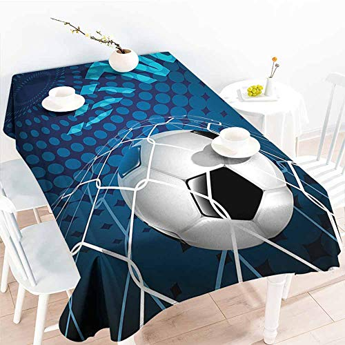 Onefzc Elastic Tablecloth Rectangular,Soccer Goal Football Flying into Net Abstract Dots Pattern Background European Sport,Table Cover for Kitchen Dinning Tabletop Decoratio,W60X90L Blue Black White