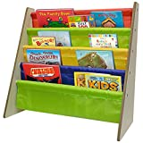 Sorbus Kids Bookshelf – Bright Primary Color Pockets Toddler Bookcase -Features Sling Pockets for Books & Toys-Great for Bedroom, Playroom, Book Store, Classroom, Toddler Gym, Daycare, etc (Natural)
