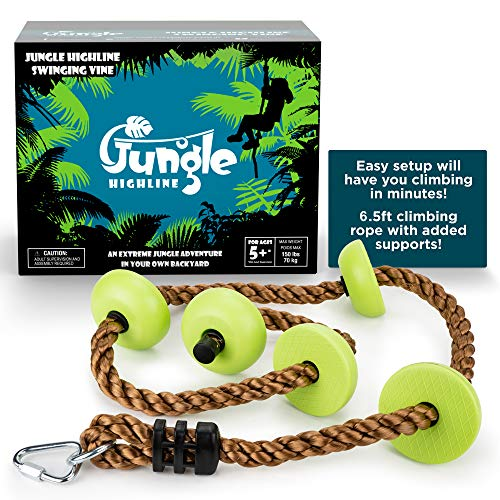 Swinging Vine - Jungle Highline Kids Swinging Vine | 6.5ft Climbing Rope | Platforms for Improved Climbing | Designed in the USA