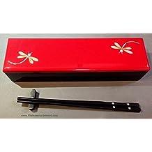 """Red Lacquer Dragon Fly Chopsticks Box - 10.5"""" x 3"""" x 2"""" - CBI1"""
