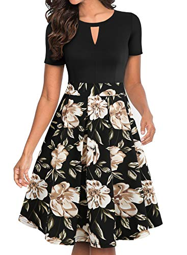 YATHON Cocktail Dresses for Women, Retro Black Flower Patchwork Plus Size O Neck Vintage Work Church Prom Party A Line Dress with Pockets (XL, YT018-Black Khaki) (Ladies Dresses To Wear To A Wedding)