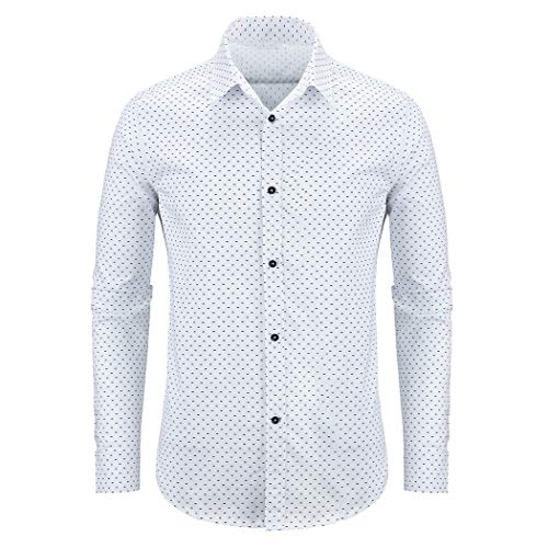 (WULFUL Men's Casual Long Sleeve Dress Shirt Print Cotton Business Button Down Shirts Regular Fit White)