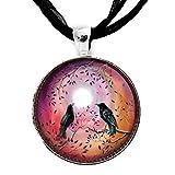 Odin's Ravens Huginn and Muninn Necklace Handmade Art Pendant Zen Moon Crow Boho Jewelry