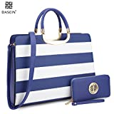 Dasein Designer Purse Stripes Satchel Handbag PU Leather Purse Top Handle Handbags (XL2828 stripe 2PCs- Blue/White)