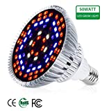 Auledio 50W Led Grow Light Bulbs Full Spectrum Plant Light Lamp for Indoor Plants Vegetables Greenhouse and Hydroponic,3200LM E26/E27 Base grow light AC 85~265V