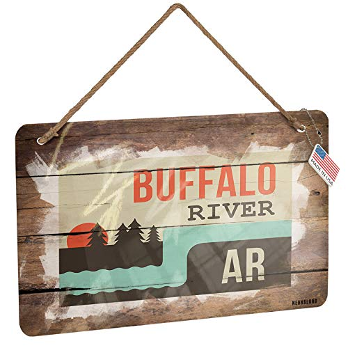 NEONBLOND Metal Sign USA Rivers Buffalo River - Arkansas Christmas Wood - Arkansas Wood Sign