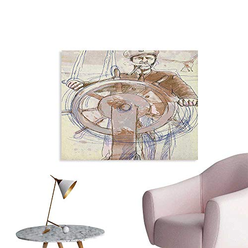 Anzhutwelve Nautical Photo Wall Paper Sea Captain The Leader Seaman Sketch Art Navigation Navy Classical Flying Bird The Office Poster Brown Cream W36 -
