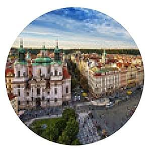 alfombrilla de ratón Iglesia de San Nicolás, Plaza de la Ciudad Vieja de Praga, República Checa. - ronda - 20cm