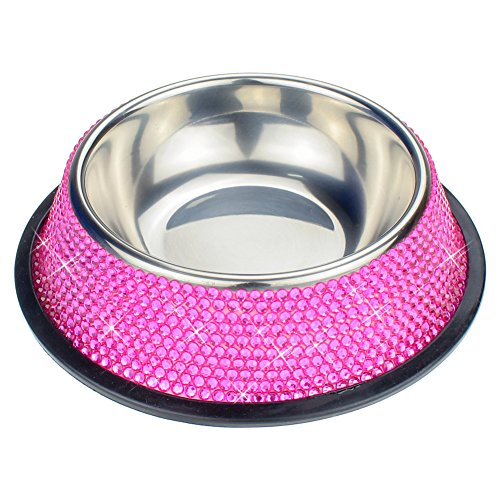 "SAVORI 10 Rows Handmade Bling Bling Rhinestones Stable Dog Bowl 200ML ""3 Ounce Stainless Steel Pet Bowl Feeder Bowl For Puppies Small Dogs Cats (Hot …"