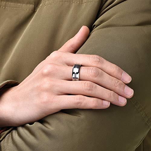King Will Classic Anillo de tungsteno de 8 mm para hombre Acabado mate de un tono Cepillado Banda de boda central Borde biselado (11.5)