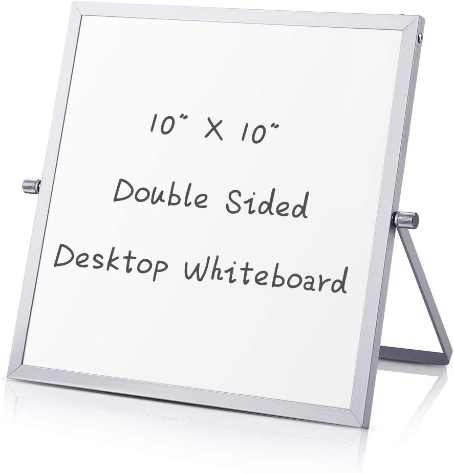 White Board, AILELAN Mini Dry Erase Whiteboard, 10 x 10 inches Magnetic Desktop Portable Whiteboard Easel