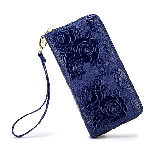 Womens Blue Wallet (LOVESHE Women wallet ReliefRose Blue Bohemian wristlet Clutch wallets)