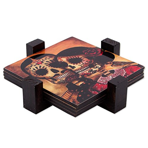 NOVICA Decorative Paper and Wood Coasters, Multicolor, 'Day Of The Dead Romance' (set of 4)]()