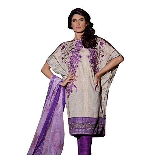 Hautewagon Women's Al-Zohaib Pure Cotton Embroidered Suit With Chiffon Dupatta Free Size Purple by Hautewagon