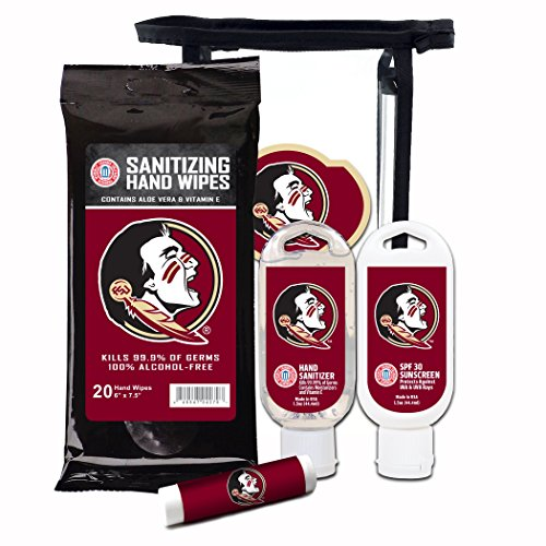 Worthy Promotional NCAA Florida State Seminoles 4-Piece Premium Gift Set with SPF 15 Lip Balm, Sanitizer, Wipes, Sunscreen