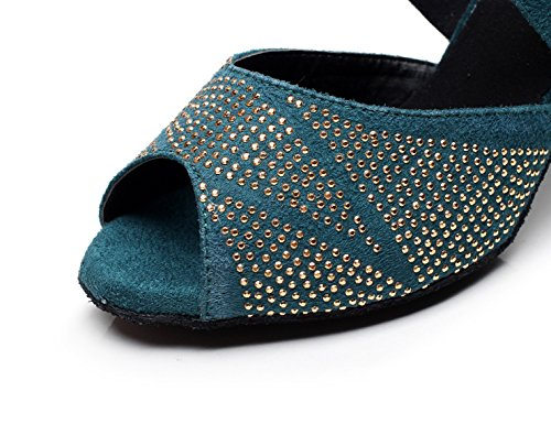 Our34 Latin heeled7 Shoes Modern Tea Dance Women's JSHOE 5cm EU33 Shoes Heels Samba High Salsa Blue Tango Jazz Sandals UK3 wqnHZ
