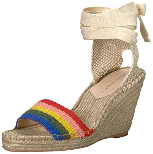 Loeffler Randall Women's Miranda (Artisan StripeWebbing) Wedge Sandal, Rainbow, 8.5 M US