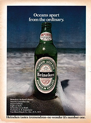 - 1974 Heineken Beer-Oceans Apart From The Ordinary-Original Magazine Ad-Holland