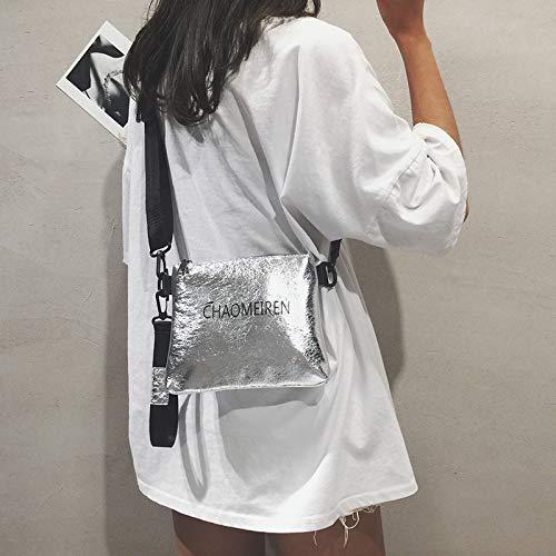 Piccola donna Paillettes quadrata contrasto Trasparente Stampa colore Trend in lettera Retro laser a pacchetto gelatina Borsa Cucito Rna1BB