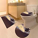 Printsonne 3 Piece Shower Mat Set Dark Soul from a Scary Movie Film on The Hills with Clouds and Pattern Rug Set