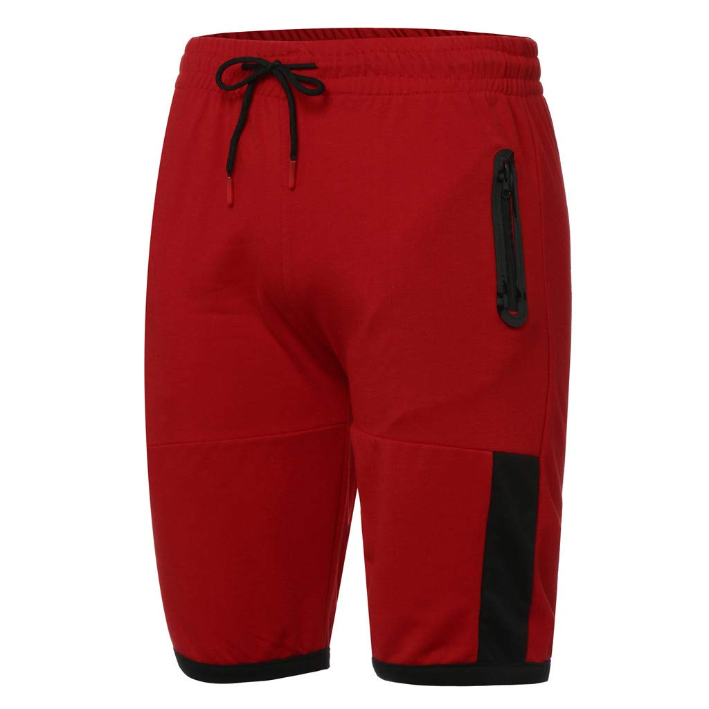 NUWFOR Men Zipper Casual Splice Stripe Beach Work Casual Men Short Trouser Shorts Pants(Red,US:S Waist25.98-29.92''') by NUWFOR (Image #5)