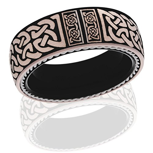 - Celtic Tungsten Ring 8mm Rose Gold Anniversary Black Dome Twisted Rope Celtic Armband Irish Love Ring Handmade Free Laser Engraved