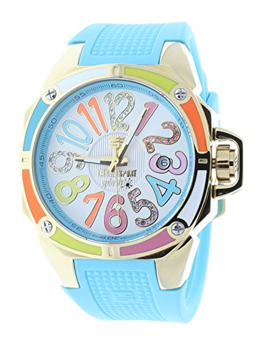 Technosport TS-200-SPLASH1 Women's Turquoise Watch Swarovski Multicolor Colorful Dial Markers Gold-Tone Case