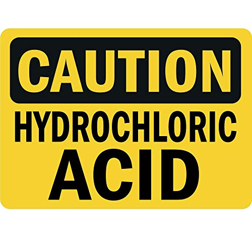 Dreamawsl Metal Aluminum Sign - Caution Hydrochloric Acid - Industrial Warning Sign - 12 x 8 inches. ()