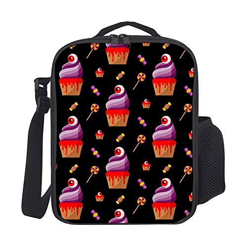 SARA NELL Halloween Spooky Cupcake Kids Lunch Box Insulated Lunch Bag Large Freezable Lunch Boxes Cooler Meal Prep Lunch Tote with Shoulder Strap for Boys Girls -