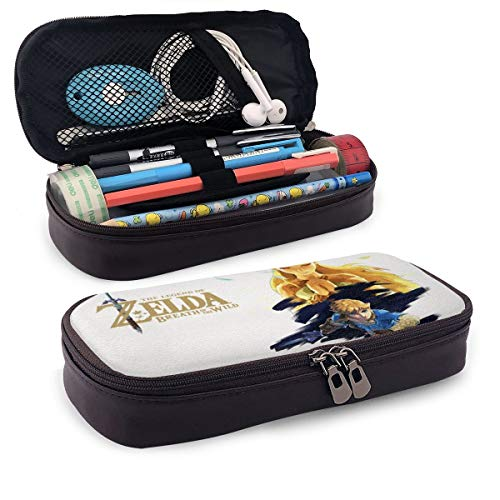 Legend of Zelda Breath of The Wild Expansion Pass PU Leather Pencil Case with Zipper, Pouch Stationary Bag for Middle High School College Student Office Girls Boys Kids Adult,Storage Bag Makeup Bag