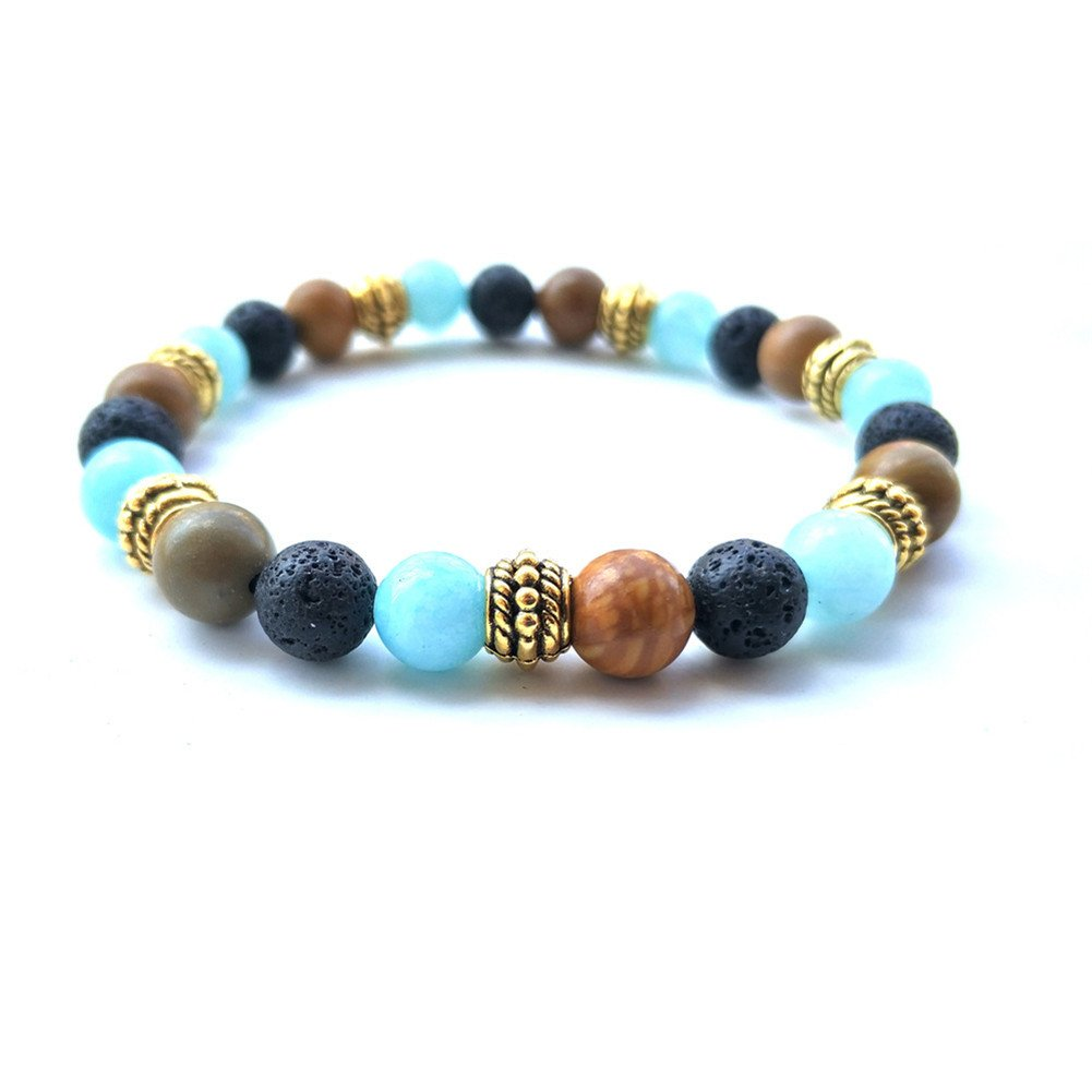 Lava Stone Meditation Mala African Tibet Bead Turquoise Howlite Oil Diffuser Bohemia Elastic Bracelet QMLB QMLB138