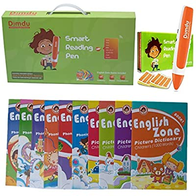 DIMDU Smart Reading-Talking Pen with 10 English Zone Book Series and 800 recordable Stickers, Best Educational Product for Kids, Preschool, Kindergarten