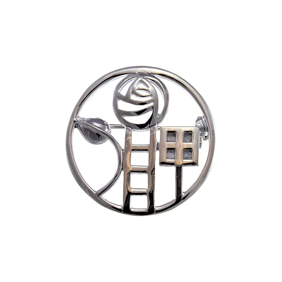Sterling Silver Charles Rennie Mackintosh Brooch (Pin) with Gift Box