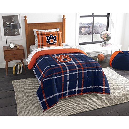 5 Piece NCAA COL Auburn Tigers Alabama football Twin Comforter Set, Blue Orange, Sports Patterned Bedding, Featuring Team Logo, Auburn Merchandise, Team Spirit, College Football Themed, Polyester