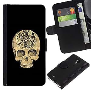 Be-Star la tarjeta de Crédito Slots PU Funda de cuero Monedero caso cubierta de piel Para Samsung Galaxy S4 Mini i9190 (NOT S4) ( Skull Time Black Meaning Deep Death )