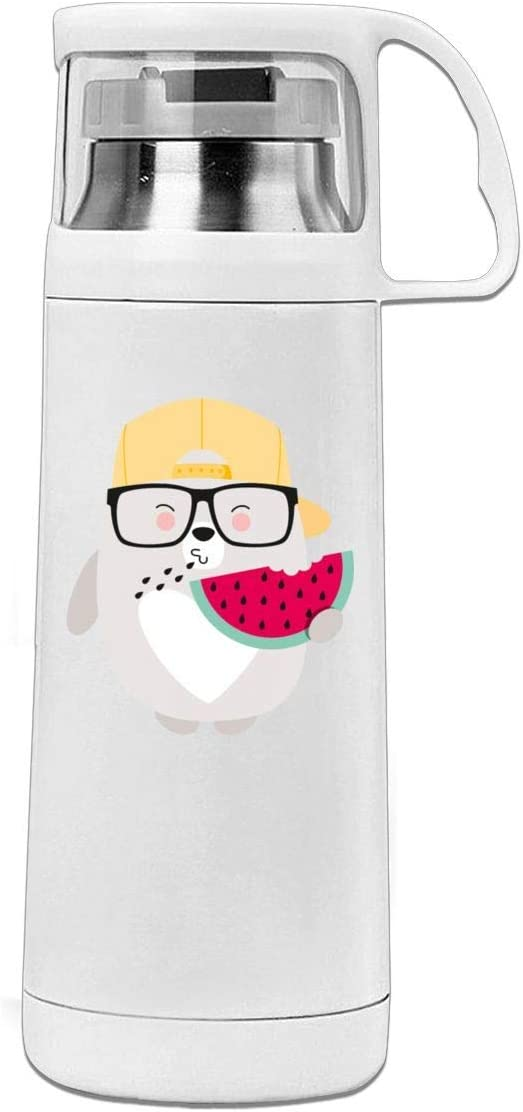 Bestqe Termo,Botella de agua,Tazas térmicas BEAR WITH MELON 11.8oz Travel Vacuum Insulated Water Bottle Cover Cup Stainless Steel Thermos Cup