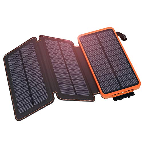 Solar Charger 24000mAh, Hiluckey Waterproof Solar Power Bank Compatible with Smart Phones, Camera, Tablet - 3 Fast Solar Panels Charger by Hiluckey